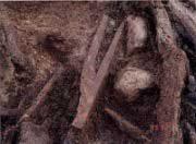 川跡から見つかった木 製の鍬